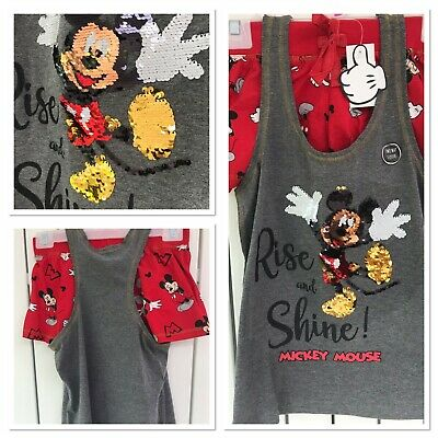BNWT Disney Mickey Mouse 2 Way Sequin Cami Pyjama set Short Vest Ladies Primark
