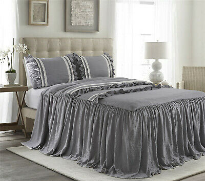 @homechoice 7 Piece BRISE Double Color Ruffled Comforter Set King Grey//Ivory