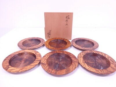 4149893: Japanese Tea Ceremony / Mat Lacquered Chestnut Wood Serving Plate 6Pc S