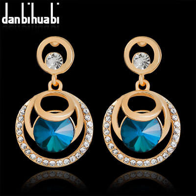 Gold Plated Sapphire Blue Crystal & Clear Crystal Stud Earrings..last Pair !