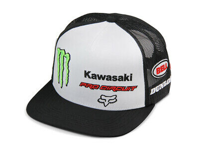 Fox Pro Circuit Monster Energy Kawasaki MX Cap Kappe Mütze Eglin Motocross Weiß