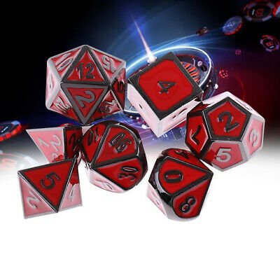 7Pcs Red Antique Metal Polyhedral Dice For DND RPG MTG Role Playing Game Supply