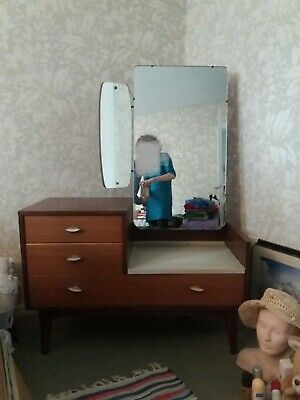Mid Century Vintage Bedroom Set by Link Lebus - Wardrobe, Dressing Table, Drawer