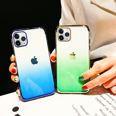 For iPhone XS Max XR 8 Plus Plating Shockproof Gradient Soft Silicone Case Cover