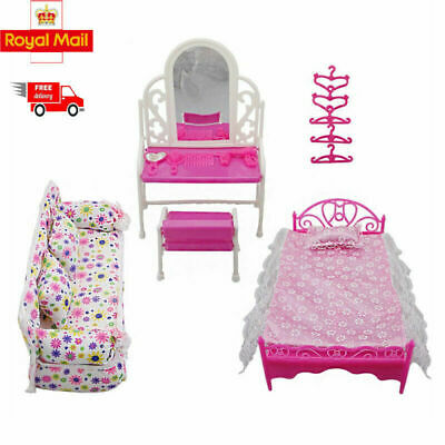 Dressing Table & Chair Accessories Set For Barbies Dolls Bedroom Furniture CH