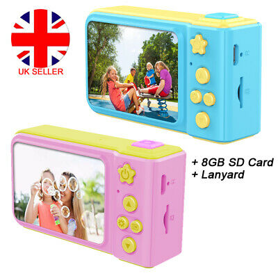 "Kids Digital HD Camera 2"" Color Display Child Girl Birthday Gift + 8GB SD Card"