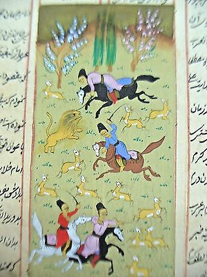 Antique Paper With Stories & Hand Paint Illustrations Lion & Deer Hunting Scene