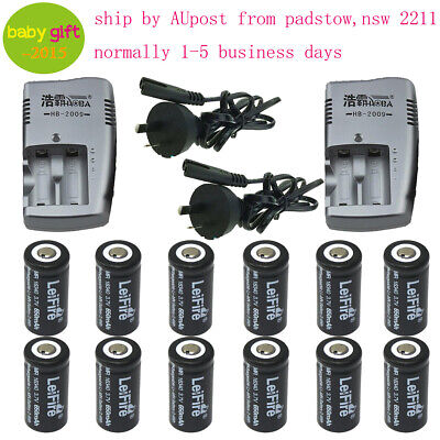 12X 3.7v  CR123A Rechargeable Batteries 650mAh 16340 Battery + 2-slots  Charger