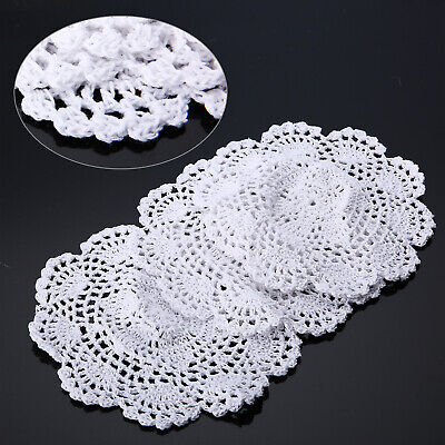 UK 3Pcs Craft Handmade Crochet Cotton Round Lace Doily Coasters Tablecloth Round