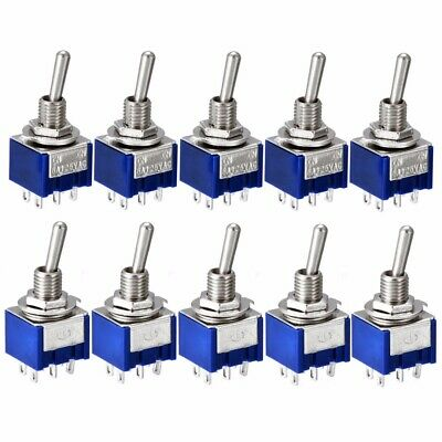 5/10X Miniature 6A 125V AC 6Pins DPDT ON-ON Mini Flick Toggle Switch MTS-202 UK