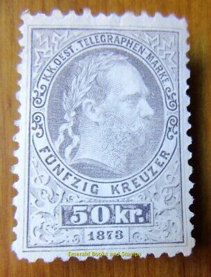 EBS Austro-Hungarian Empire 1873 Telegraph Stamp - Franz Joseph I ANK T14 MNG