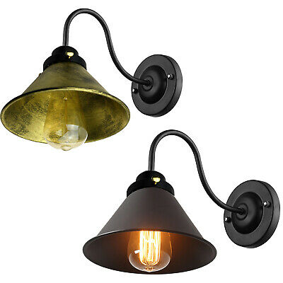 Vintage Retro Industrial Loft Rustic Wall Sconce Wall Lights Porch Lampshade UK