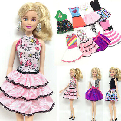 8pcs For Barbie Doll Dresses,jewellery Clothes Set Accessories Fashion