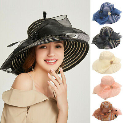 e02dfe15d9a9 Womens Organza Church Derby Fascinator Cap Kentucky Tea Party Wedding Round  Hats