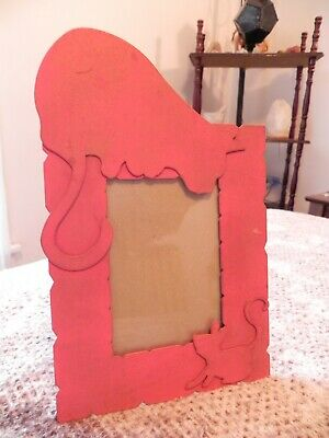 "Vintage Metal Cat and Mouse 3.5"" x 5"" Red Photo Frame"