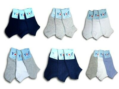 Unisex Teens Children Adult Men Women Boys Cotton Plain Trainer Socks 3 pairs