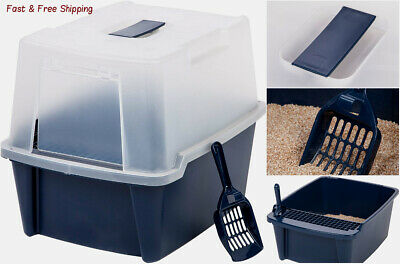 Clean Pet Cat Kitty Closed Top Regular Litter Box with  Shield & Scoop - Navy