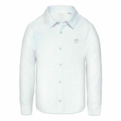 New Timberland Baby Little Kids Boys Buttoned White Casual Polo Collar Shirt