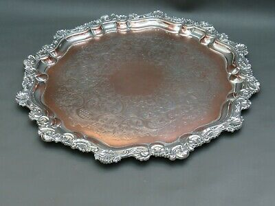 """Antique or vintage silver plated 16 1/2"""" tray with ornate decorative shell edges"""
