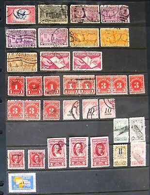 US Stamps BoB Revenue Documentary Special Delivery Postage Due Lot of 35 Used
