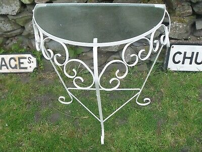 Vintage Wrought Iron Glass Topped Demi Lune Table