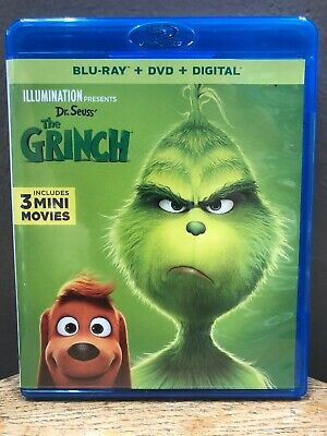 Dr. Seuss' The Grinch (Blu Ray + DVD, 2019) Illumination Presents