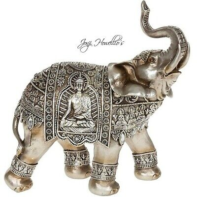 Large ELEPHANT Silver Gold BUDDHA Trunk Up Elephant Statue Ornament Figurine