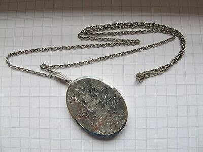 Very Large Hallmarked Sterling Silver Georg Jensen Double Locket & Chain - 1970