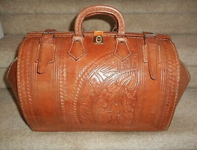 Vintage Rugged Hand Tooled Leather Travel Doctor Bag Luggage