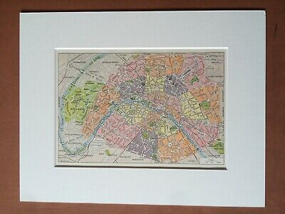 1923 Paris Original Antique Map France City Plan Vintage Wall Decor