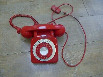 Vintage Retro 1960's GPO 706L White Dial Rotary Red Telephone Desk Land Line