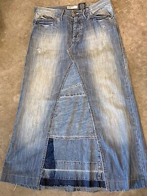a31c388a7f BOHO Long Modest Denim Maxi Skirt Women's Size 8 10 12 Distressed Upcycled  Fray