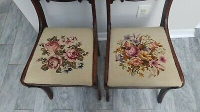 2 Antique Mahogany Embroidered Folding Chair Made by Tell City Furniture Company