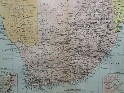 Cape Colony and South Africa Original Antique Encyclopaedia Map Vintage Old