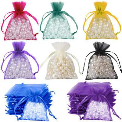 100x Organza Gift Voile Net Bags Jewellery Wedding Pouches Favour Party Candy