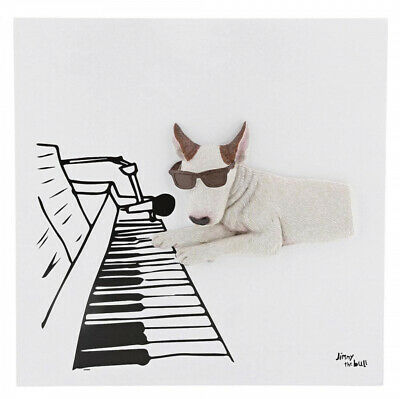 Jimmy The Bull Chien Terrier Art Mural Toile 'Pianiste' 23cm A29624 Neuf