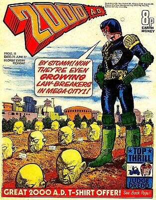 2000AD Prog 18 Bloom Brain Judge Dredd Mega City One Comic Mid > HIGH GRADE 1977