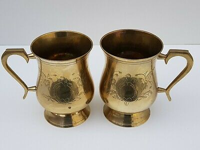 Pair of Vintage/Antique Solid Brass Islamic Persian Cup