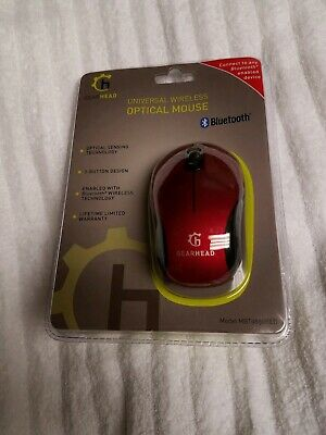 52b8cef958c GearHead 3 Button Bluetooth Wireless Optical Scroll Mouse - Red New In  Package