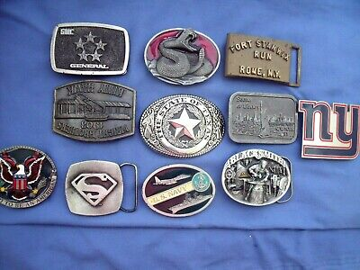 11 All Metal Mens Belt Buckles - Superman- Wright Brothers - Snake- Us Navy++