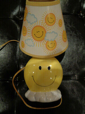 Vintage CERAMIC Smiley Face Lamp with shade Retro 1970's MCM RARE! WORKS!