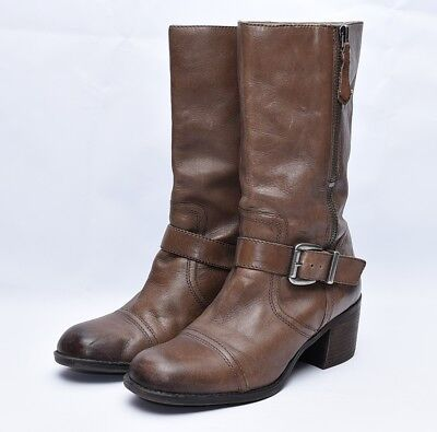 5e0cfedbc24 FRANCO SARTO SANTANA Brown Leather Motorcycle Biker Mid Calf Boots ...