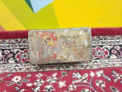 1930s Vintage Old Durkopp Attachments For Sewing Machine Litho Tin Box