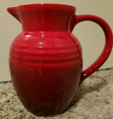 """Amazing and PERFECT 5 3/4"""" Le Creuset Ombré Two-Tone Red .7 Liter Pitcher or Jug"""