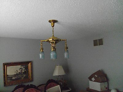 ANTIQUE   HANGING LIGHT LAMP FIXTURE  etched  IRIDESCENT SHADES