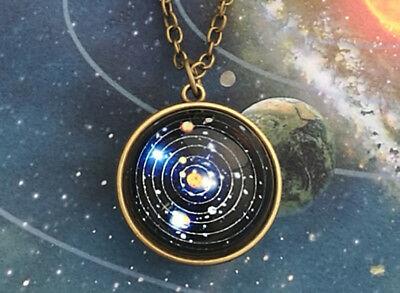 Solar System Necklace Pendant, Planet Necklace,Galaxy S, Double Sided Glass-Dome