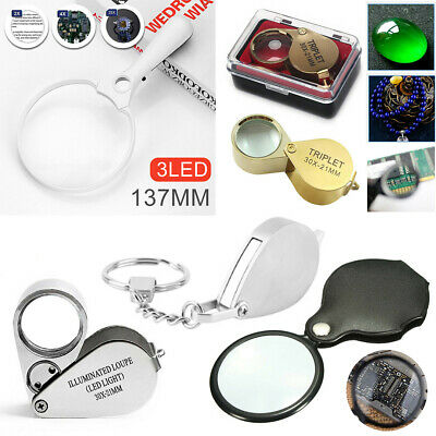 Jewellers Eye Jewelry Lens Glass Loupe 10 30X 40X Magnifier Magnifying LED Light