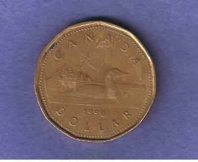 1990 Canada Canadian One Dollar Loonie Circulated~Nice