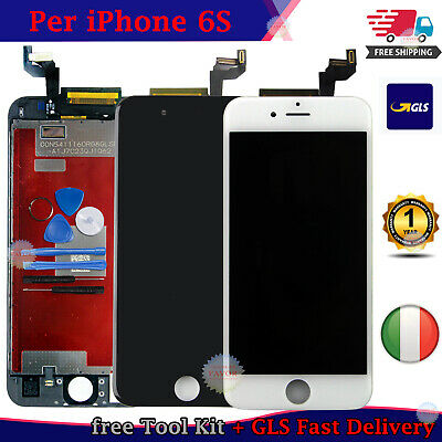 Touch Screen Lcd Display Retina Nero Per Apple Iphone 6S Vetro Schermo + Frame