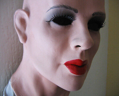 Latex Mask KATE +LASHES -Real. Female Rubber Sissy Transgender Woman T-Doll Face